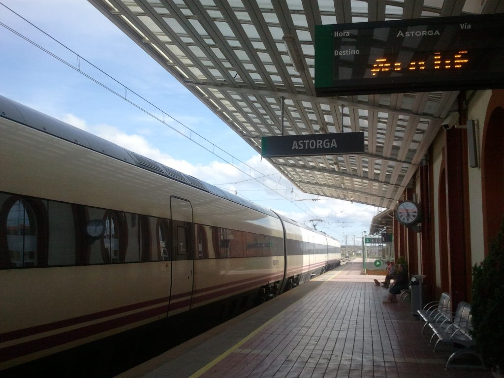 Astorga's train station Camino de Santiago Setting Up first stage