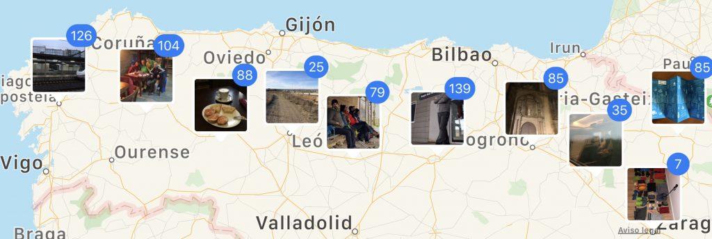 Fotos del Camino sobre el mapa